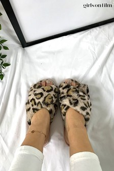 Girls On Film Cream Faux Fur Crossover Slippers