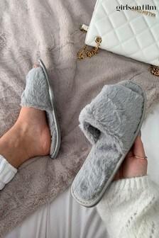 Girls On Film Grey Fluffy Slipper