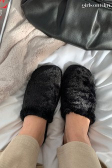 Girls On Film Black Fluffy Closed Toe Slipper