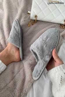 Girls On Film Grey Fluffy Closed Toe Slipper