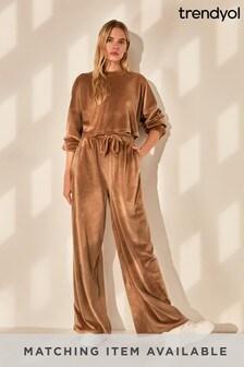 Trendyol Brown Velour Tracksuit Trouser