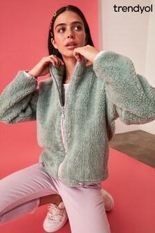 Trendyol Green Fleece Sweater