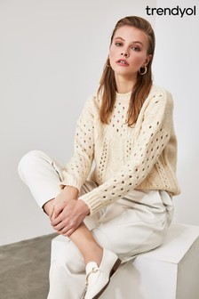 Trendyol White Ecru Knit Detailed Openwork Knitwear Sweater