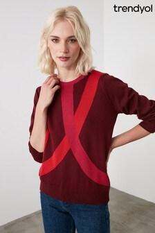 Trendyol Red Colour Block Knitwear Sweater
