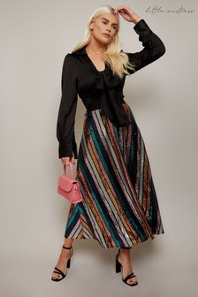 Little Mistress Black and Gold Trixie Rainbow Stripe Sequin Midi Skirt