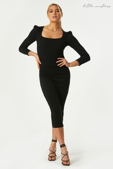 Little Mistress Black Soan Bodycon Midi Skirt