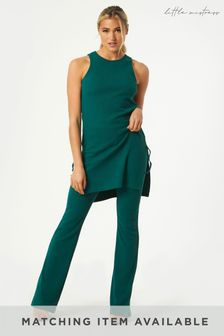 Little Mistress Green Mylan Ribbed Flared Trousers