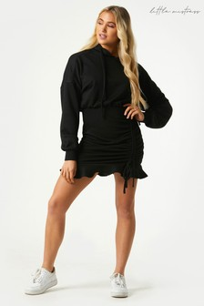Little Mistress Black Sohan Ruched Hoodie Sweatshirt Dress