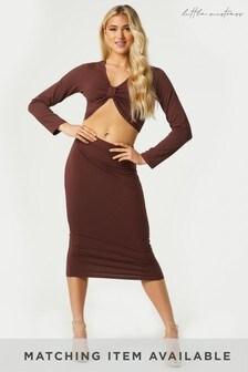 Little Mistress Brown Soan Bodycon Midi Skirt