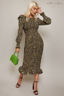Little Mistress Black Animal Print Gold Foil Plisse Midi Dress