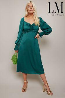 Little Mistress Green Lima Emerald Green Sweetheart Midi  Dress