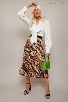 Little Mistress Black Prospect Satin Pleated Midi Skirt