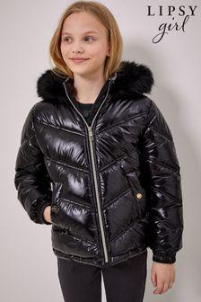 Lipsy Black Wetlook Shower Resistant Short Padded Coat