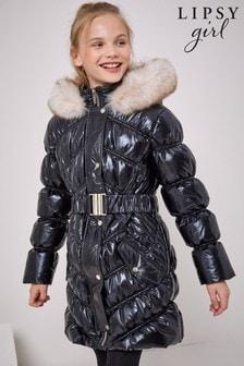 Lipsy Black Wetlook Shower Resistant Longline Belted Coat
