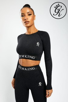Gym King Black Sport Results Long Sleeve Cropped T-Shirt