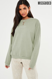 Missguided Green Washed Basic Sweat Top