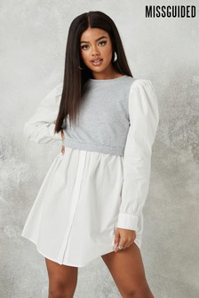 Missguided Grey Puff Sleeve Sweater