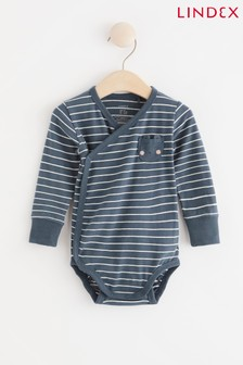 Lindex Navy Baby Wrap-Over Bodysuit
