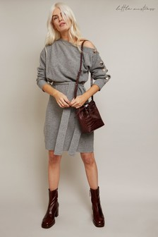 Little Mistress Grey Mika Slash Neck Knit Dress