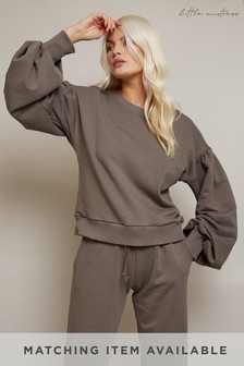 Little Mistress Black Balloon Sleeve Sweatshirt Loungewear