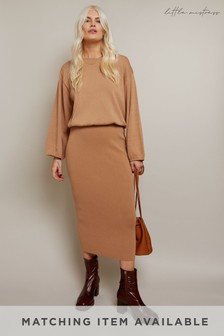 Little Mistress Camel Admire Knitted Midi Skirt Co-ord