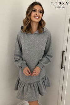 Lipsy Grey Hoodie Frill Sweater Dress