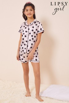 Lipsy Liliac Spot Satin Pyjama Set