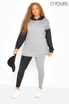 Yours Black and Grey Curve Contrast Leggings