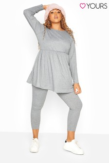 Yours Grey Curve Ribbed Co-Ord Leggings