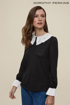 Dorothy Perkins Black Crochet Collar Jersey Mix Long Sleeve Top