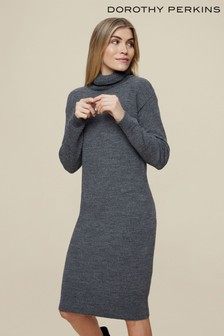 Dorothy Perkins Grey Cosy Roll Neck Knitted Dress