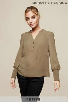 Dorothy Perkins Khaki Petite Roll Sleeve Shirt