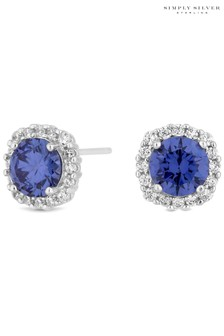Simply Silver Blue Cubic Zirconia Sterling Silver 925 Halo Stud Earrings