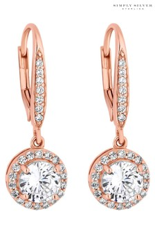 Simply Silver Rose Gold 14Ct Rose Gold Plated Sterling Silver 925 Clara Drop Earrings