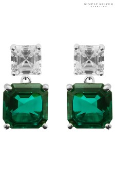 Simply Silver Green Cubic Zirconia Emerald Asscher Cut Drop Earrings