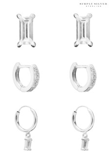 Simply Silver Silver Cubic Zirconia Emerald Cut Earring Set  Pack of 3