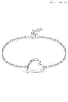 Simply Silver Silver Polished Open Heart Bracelet