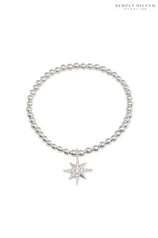 Simply Silver Silver North Star Made With Swarovski Crystal Stretch Bracelet