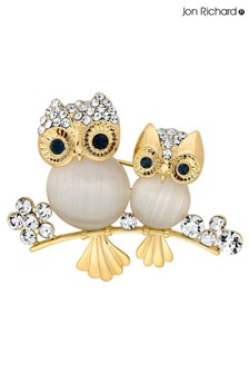 Jon Richard Gold Mother And Baby Owl Brooch in a Gift Box