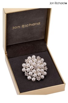 Jon Richard Silver Pearl Cluster Brooch in a Gift Box