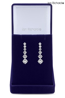Jon Richard Silver Cubic Zirconia Graduated Tennis Drop Earrings in a Gift Box