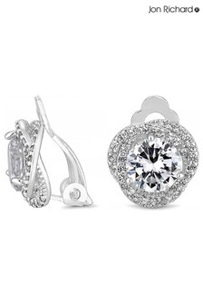Jon Richard Silver Pave Crossover Halo With Centre Stone Clip Earrings