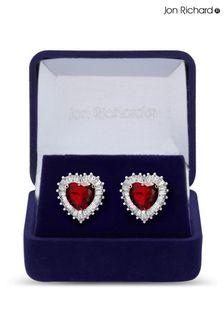 Jon Richard Ruby Red Silver Cubic Zirconia Heart Stud Earrings in a Gift Box
