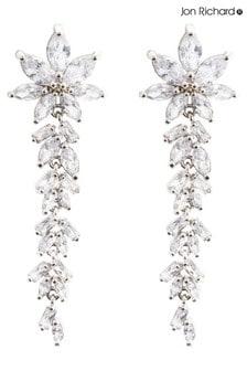 Jon Richard Silver Floral And Baguette Cubic Zirconia Earrings