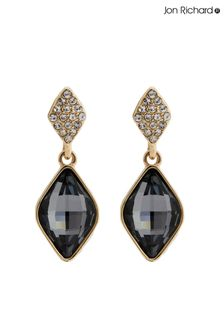 Jon Richard Jet Black Fancy Drop Earrings Made With Swarovski Crystals