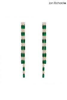 Jon Richard Gold/Green Emerald Baguette Cubic Zirconia Drop Earrings