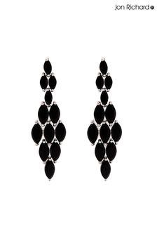 Jon Richard Black Marquisse Navette Cubic Zirconia Diamond Shape Earrings
