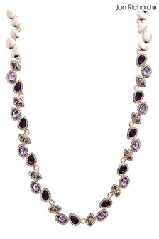 Jon Richard Purple Amethyst Rose Gold Mixed Crystal Necklace