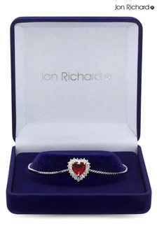 Jon Richard Ruby Red Silver Cubic Zirconia Heart Toggle Bracelet in a Gift Box