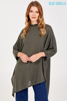 Blue Vanilla Green Asymmetric Top With Shirred Collar